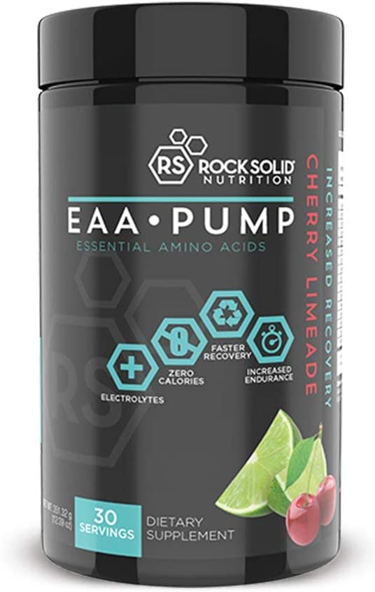 Rock Solid Nutrition EAA Pump Essential BCAA Amino Acid Post Workout Recovery Supplement, Drink Powder, 30 Servings Cherry Limeade