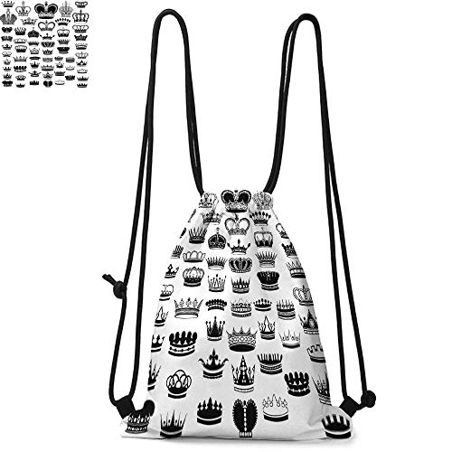 Queen Easy to carry drawstring backpac Big Silhouette Crown Set Monarchy Imperial Ruler Icons Antique Ancient Vintage Durable Drawstring Backpack W13.4 x L8.3 Inch Black and White