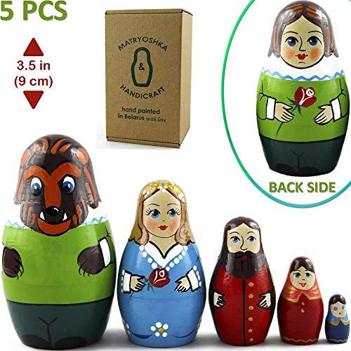 MATRYOSHKA&HANDICRAFT Beauty and The Beast Characters Original Fairy Tale Toys Russian Nesting Dolls for Kids