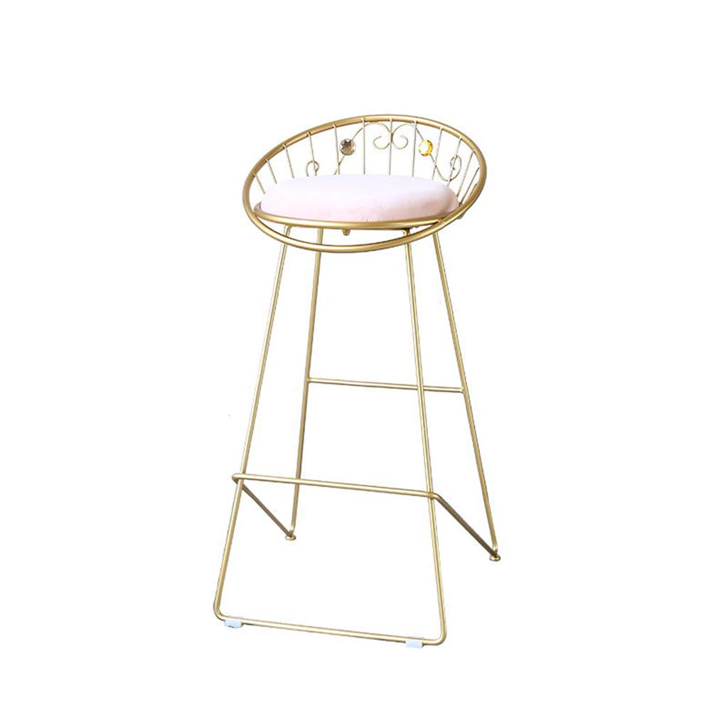 Chairs Metal Bar,Modern Comfortable Counter Height Simple Iron Art Stool Chair Metal Legs Curved Back Cotton Cushion Cafe Kitchen Chairs