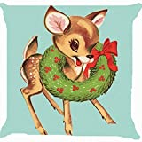 Leaveland Retro Vintage Baby Santa Claus Reindeer Flower Wreath Cute Pillow Cover 18 x 18 Inches