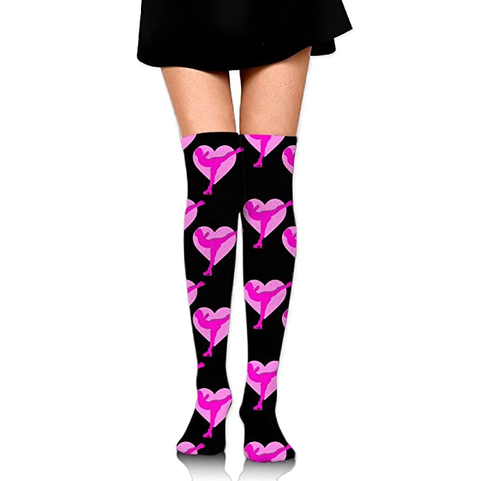 2a96a081611 Image Unavailable. Image not available for. Color  SKATER Pinky Heart  Womens Long Knee High Socks Stocking