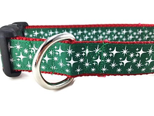 Christmas Dog Collar, Caninedesign, Rudolph, Stars, Sleigh, 1 inch wide, adjustable, nylon, medium and large (Stars Green, Large 15-22 )