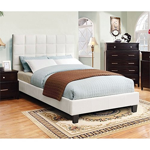 Product Reviews Buy Furniture Of America Hellan Queen Upholstered Platform Bed In Ivory