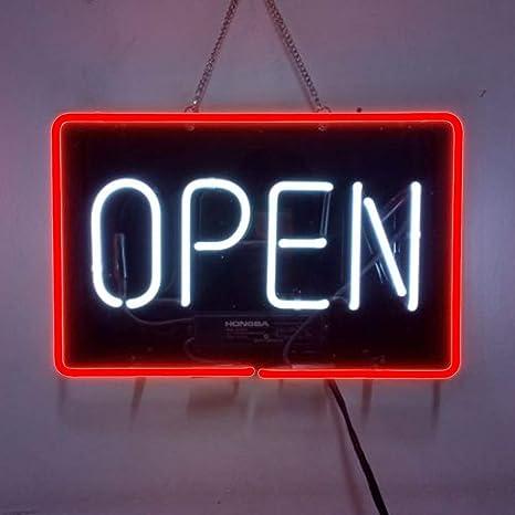 "12""x8""OPEN Neon Sign Light Beer Bar Pub Shop Wall Display Handcraft Real Glass"