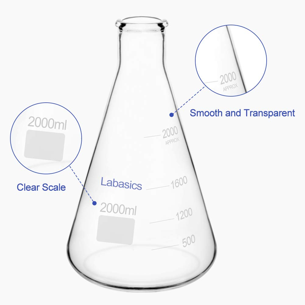 Labasics Glass Narrow Mouth Erlenmeyer Flask Borosilicate Glass Heavy Wall Flask with Heavy Duty Rim 1 L