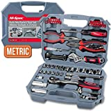 "Hi-Spec 67 Piece METRIC Auto Mechanics Tool Set - Professional 3/8"" Quick Release Offset Ratchet with 72 Teeth, 4-19mm METRIC Sockets Set, T-Bar, Extension Bar, Hand Tools & Screw Bits in Storage Case"