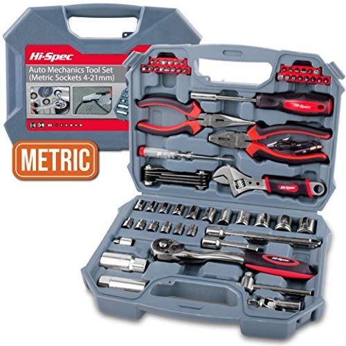 Hi-Spec 67 Piece METRIC Auto Mechanics Tool Set - 3/8' Quick Release Offset Ratchet with 72 Teeth,...