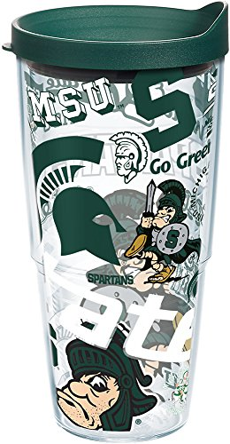 Michigan State Spartans All Over Tumbler With Lid 24 oz Clear ()