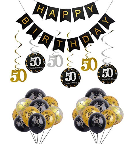 50th Birthday Party Decorations Happy Birthday Banner with 50th Foil Hanging Swirls Number Print and Confetti Balloons Party Favors for Adults -