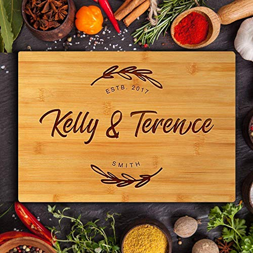 Personalized Wedding Cutting Board, Custom Engraved Chopping Board with Groove Customized Wooden Butcher Block for Housewarming Gift