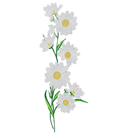 ximkee margaritas flores bordado Appliques coser o hierro EN parches. Pasa ...