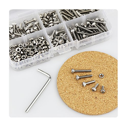 M3 Stainless Steel Hex Socket Head Cap Screws Nuts Assortment Kit, Allen Wrench Drive, Precise Metric Bolts and Nuts Set with Beautiful Assortment Tool Box for 3D printed project, 310 Pcs (Silver)