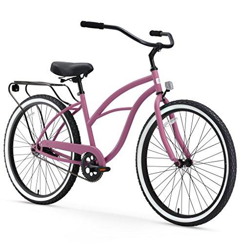 sixthreezero Around The Block Women's Single Speed Cruiser Bicycle, Light Plum w/ Black Seat/Grips, 26