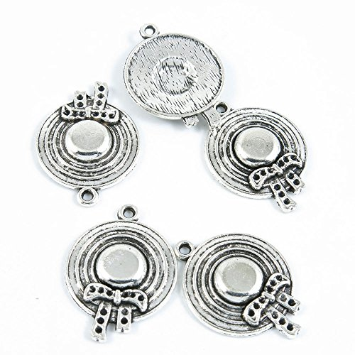 Ladies Hat Charm (50 Pieces Antique Silver Tone Jewelry Making Charms Supply ZY2863 Lady Straw Hat)