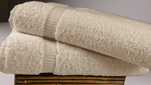 SALBAKOS Luxury Hotel & Spa Turkish Cotton 2-Piece Eco-Friendly Bath Sheet Set 35 x 70 Inch, Ivory (Bath Piece 8 Sheet)