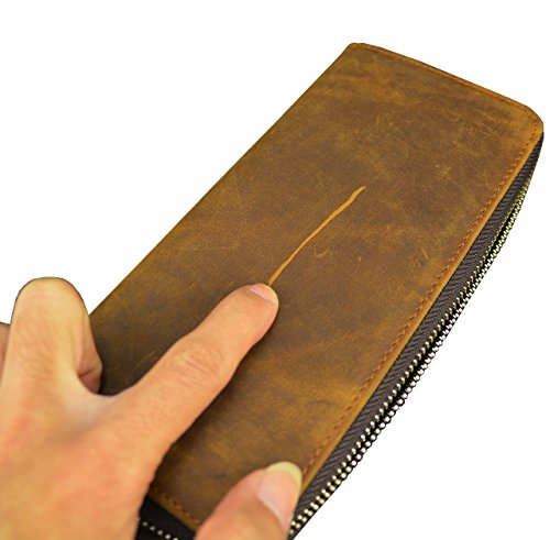 Men's Genuine Leather Long Wallet 4 Interlayer Zip Around Wallet With Coin Pocket