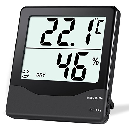 Price comparison product image ORIA Digital Hygrometer Thermometer,  Indoor Thermometer Humidity Monitor,  Temperature Humidity Gauge Meter,  with Comfort Indicators,  MIN / MAX Records,  / Switch,  for Home,  Office,  Greenhouse,  Babyroom