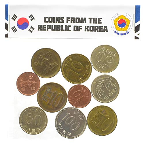 10 Old Coins from South Korea, East Asia. Korean Collectible Coins: Won. Perfect Choice for Your Coin Bank, Coin Holders and Coin Album