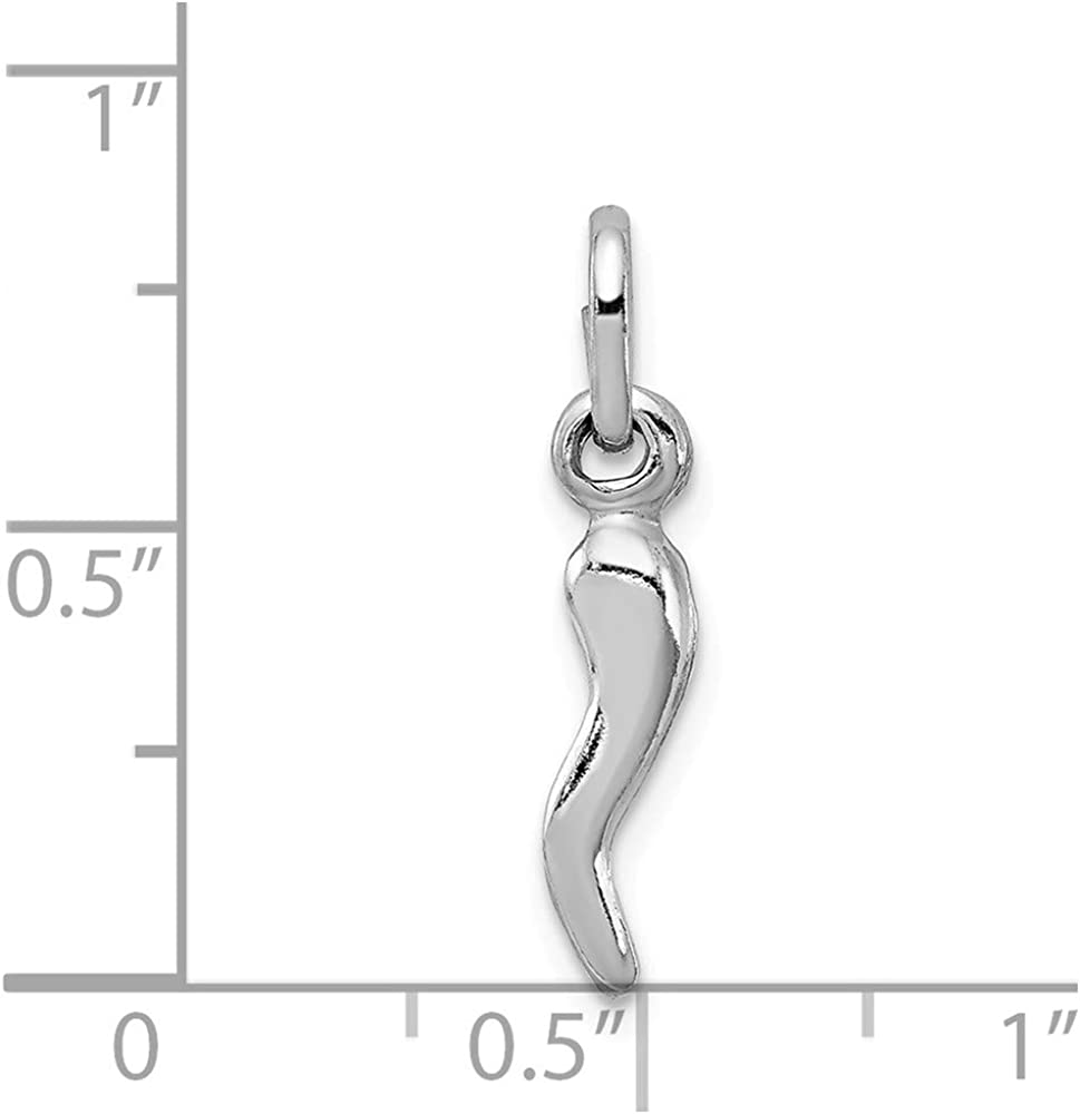 Mia Diamonds 925 Sterling Silver Italian Horn Charm 22mm x 4mm