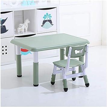 ZHAOHUI - Juego de Mesa y sillas para niños de Altura Ajustable de plástico para niños, Mesa para Aprender a Jugar al Dormitorio de 2 a 12 años, fácil de Limpiar: Amazon.es: