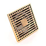 HARPOON Bathroom Floor Drain Square Filter Shower Removable Cover Brass, Antique