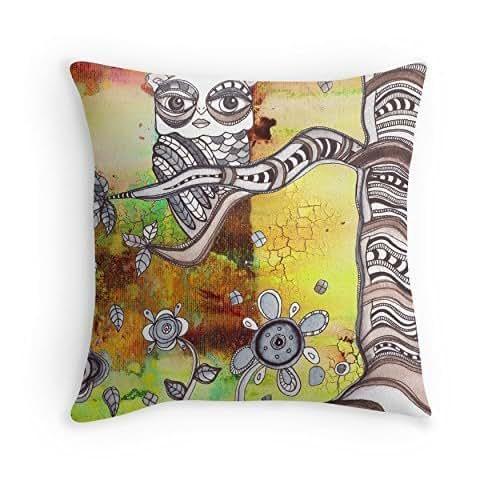 """Amazon.com: Colorful """"Surreal Owl II"""" Throw Pillow"""