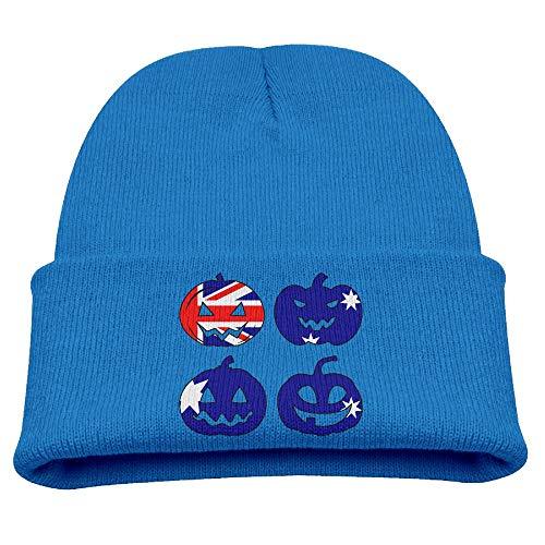 Kids Comfortable Knitted Cap Australia Halloween Pumpkin Head Skull -