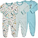 Baby Footed Pajamas with Mittens - 3 Packs Boys Baby Footie Onesies Sleeper Newborn Cotton Sleepwear Infant Outfits 9-12 Months Blue