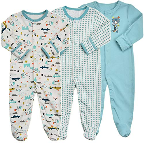 Baby Footed Pajamas with Mittens - 3 Packs Girls Boys Baby Footie Onesies Sleeper Newborn Cotton Sleepwear Infant Outfits (0-3 Months, Blue) - Long Sleeve Boys Overalls