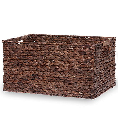 The Lucky Clover Trading Rectangular Rush Utility Basket with in-Handles - Large Rectangular Basket