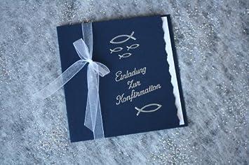 10 Einladungskarten Zur Konfirmation Einladung Incl. Umschlag Schriftzug  Silber*Handarbeit*