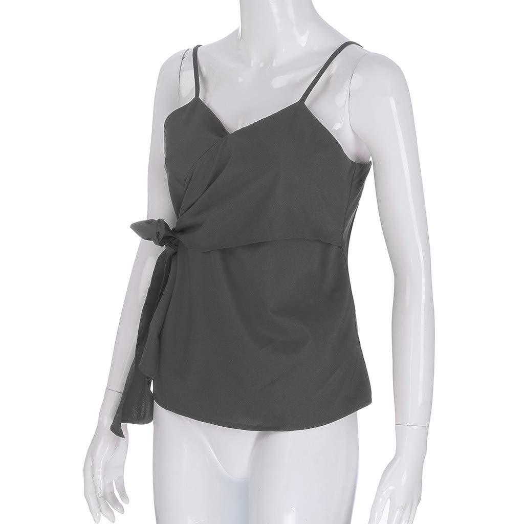 Blouses for Women Fashion 2019,YEZIJIN Women Summer Fashion Casual Camis Sleeveless Crop Ruffle Solid Bandage Tops Gray by Yezijin_Women's Wear (Image #4)