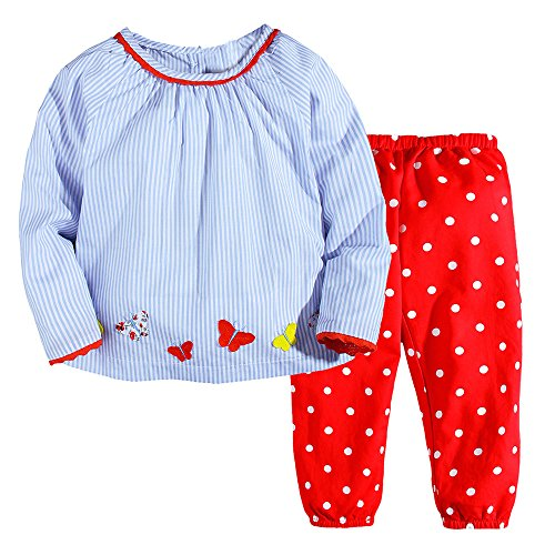 NYCMIRABELLE Girls Outfit Play Set Pretty Appliques Cotton Woven Kids Clothing Set with Sleeves (Pretty Girl Outfits)