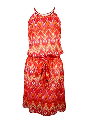 GUESS Women's 'Kylie' Belted Ikat Halter Dress (8, Red Multi)