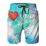 I Love Coding Men's Athletic Shorts Quick Dry Tropical Shorts Swim Trunk