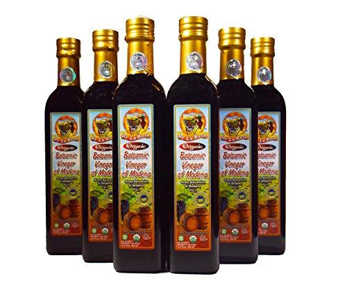 De La Rosa Real Foods & Vineyards - Kosher Organic Italian Aged Balsamic Vinegar of Modena - 500 ml (Pack of 6) by De La Rosa Real Foods & Vineyards