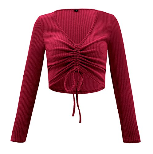 Manches Rouge Hauts Tricots Printemps Pulls Court Femmes Slim Shirts et Legendaryman Unie Couleur Jumper T Chandail Shirts Casual Automn Longues Blouse V Crop Col Mode Tops RfFpq
