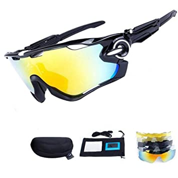 HTTOAR Gafas de Sol Deportivas polarizadas protección UV400 Gafas de Bicicleta 5 Lentes, Ciclismo béisbol Pesca esquí Corriendo