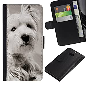 Graphic Case / Wallet Funda Cuero - White Terrier Longhair Small Dog - HTC One M8