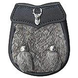 AAR Brand New Boy Sporran Fur with Stag Head Badge 2 Tassels (Brown Fur)