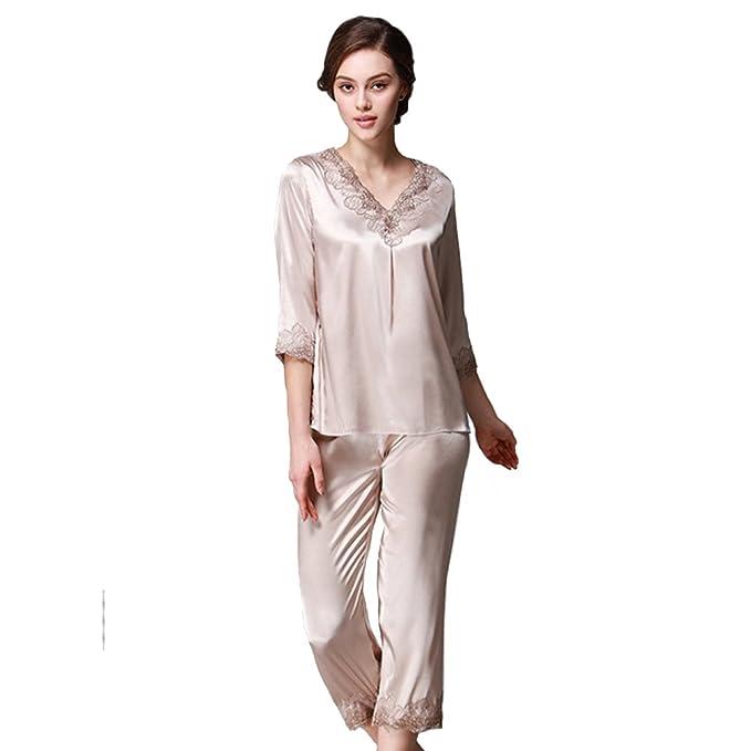 TT Global Pijamas para Mujer, Bordado de Flores de Encaje Satén Suave y cálido Manga Larga y Pantalones Largos, Mujer Satin Camisones Pijamas Raso: ...