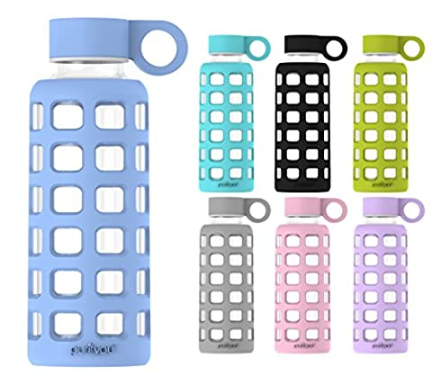 purifyou Premium Glass Water Bottle with Silicone Sleeve and Stainless Steel Lid, 12 / 22 / 32 oz (Baby Blue, 22 oz)