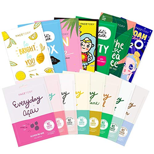 FaceTory Best of Seven and Everyday Facial Sheet Mask Collection Bundle- Hydrating, Refreshing, Calming (15 Sheet Masks Total)