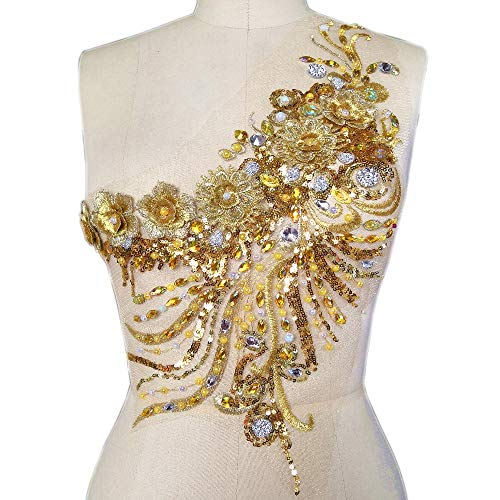 Handmade Sewn on The Web 3D Lace Rhinestones Applique Crystal Patches with Stones Sequins Beads Wedding Dress Accessories (Yellow)