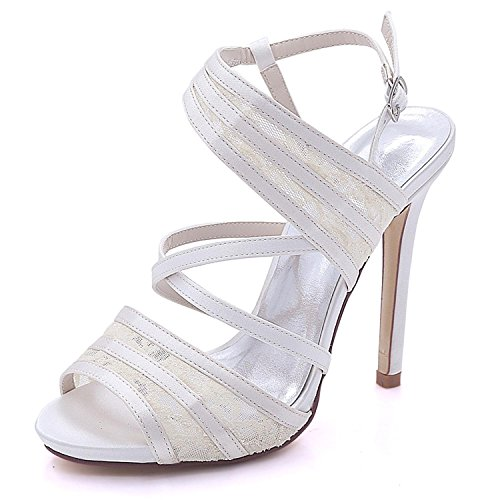Size and Peep Large L Satin YC Color Women's 07 Multi Toe Wedding Bridal High Heel 7216 Lace Ivory Shoes wxqTXS0x