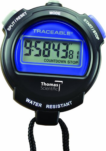 "Thomas 1030 ABS Plastic Traceable Digital Stopwatch with 25/64"" High LCD Digits, 0.0005 Percent Accuracy, 3"" Length x 2 1/2"" Width x 3/4"" Thick"