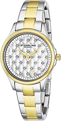 Stuhrling Original Women's 567.02 Vogue Swiss Quartz Crystal Dial Two Tone Gold Watch