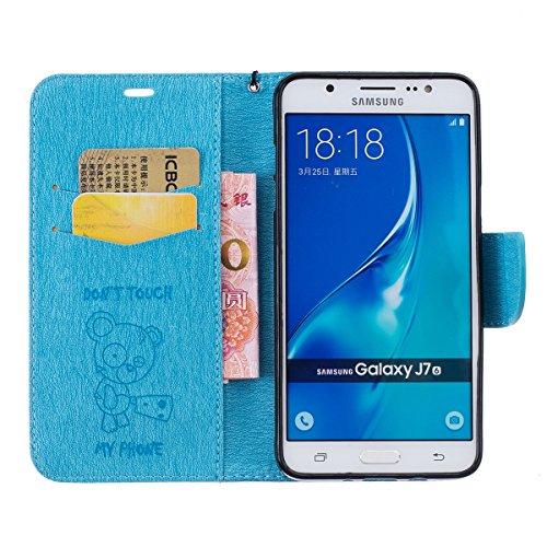 Ukayfe Flip funda de cuero PU para Samsung Galaxy J7(2016), Leather Wallet Case Cover Skin Shell Carcasa Funda para Samsung Galaxy J7(2016) con Pintado Patrón Diseño, Cubierta de la caja Funda protect El oso encantador-Azul claro