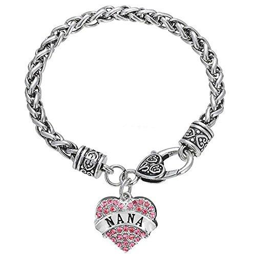 """Luvalti """"Nana"""" Charm Crystal Bracelet - Adorable Nana Pink Heart Bracelet - Best Family Jewelry Gift"""